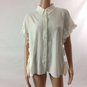 Spense Women's Shirt Button Down Collar Neck Sz M